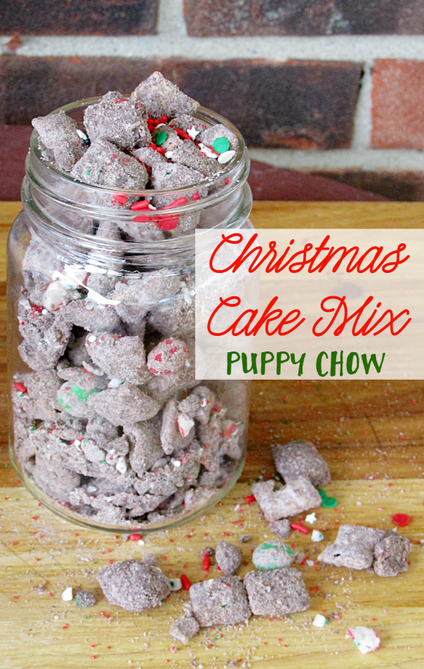 Christmas Cake Mix Puppy Chow is fun to make, yummy to eat, and makes a great gift! Grab a free printable bag topper to make it even easier!
