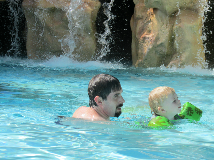Daddy and Owen in pool
