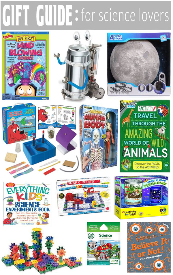Gift Guide for science lovers! Science related gifts for boys and girls, young and old!