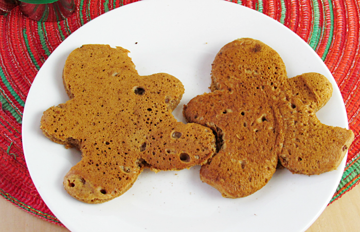 Gingerbread Man Pancakes on plate