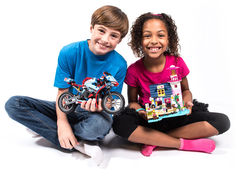 Kids with Lego sets