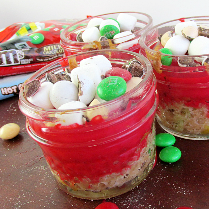Mini Holiday Hot Chocolate Cakes in Jars