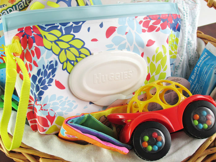Mom Basket with Huggies Wipes