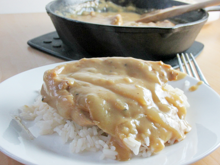Pork Chops and Gravy with Rice