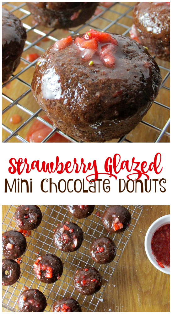 Strawberry Glazed Mini Chocolate Donuts pin