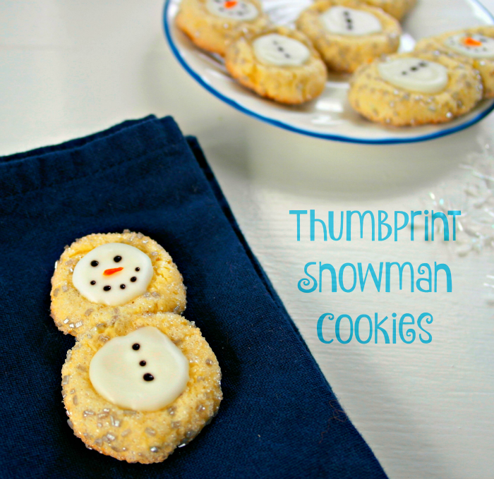 Thumbprint Snowman Cookies are fun to make and fun to eat! They make great holiday cookies, a Frozen party, or cookies just for fun this winter!