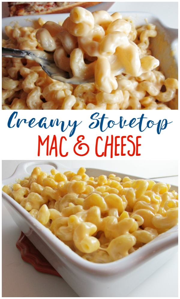 Creamy Stovetop Mac & Cheese is so easy and makes a perfect side dish for a quick pizza night!
