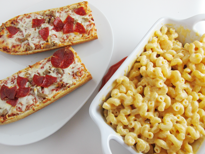 Pizza and Mac & Cheese