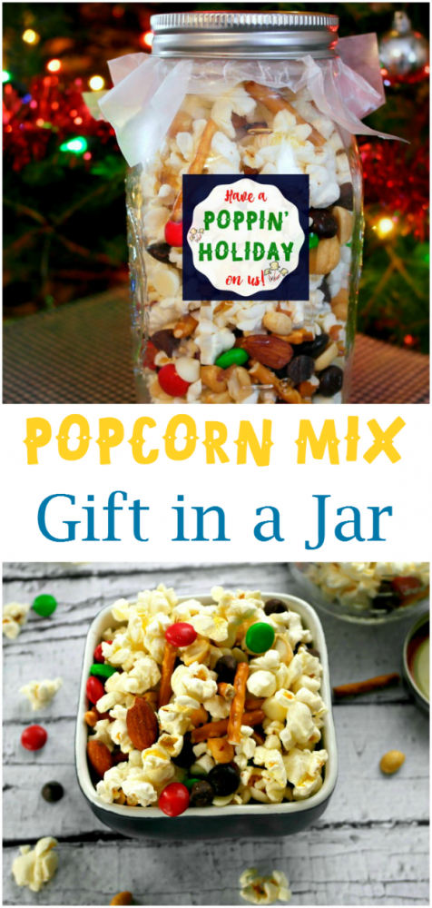 Popcorn Mix Gift Idea in Jar - pair it with a movie, movie passes, or a Netflix gift card!