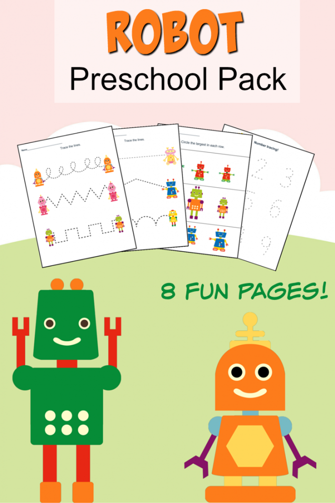 Print this free Robot Preschool Pack to keep kids busy and work on skills while having fun!