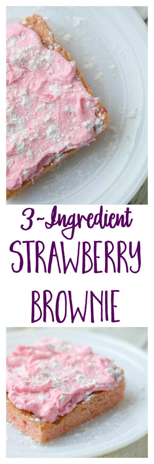3-Ingredient Strawberry Brownies are perfect for Valentine's Day, a baby shower, Easter, or any day!