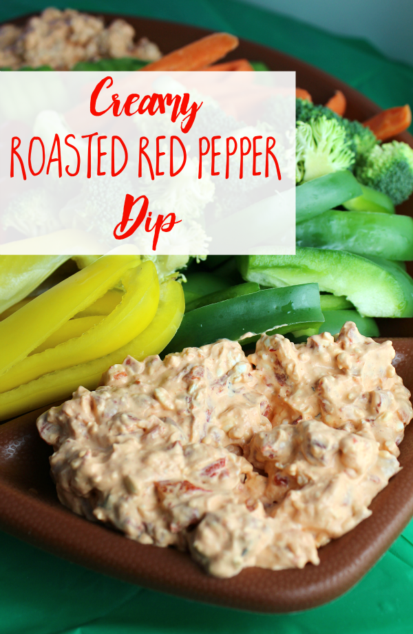 This Creamy Roasted Red Pepper Dip is the easiest dip you'll ever make! Just 2 ingredients! Perfect for dipping veggies, crackers, or chips!