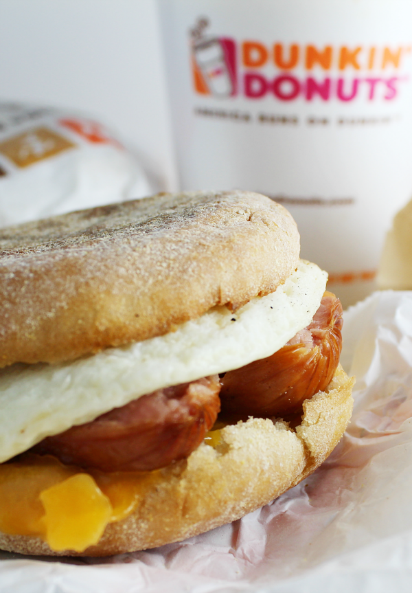 Delicious Breakfast at Any Time at Dunkin' Donuts! Try the Chicken Apple Sausage Breakfast Sandwich!