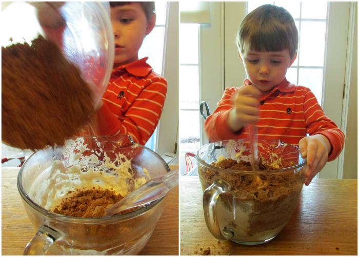 Mixing Gingerbread Cookies and Cream Bars