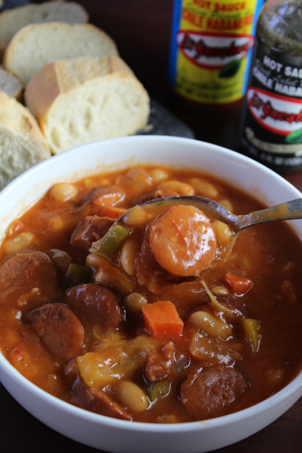 Sausage and Bean Stew with El Yucateco is made in the slow cooker and perfect for Game Day or any chilly day!