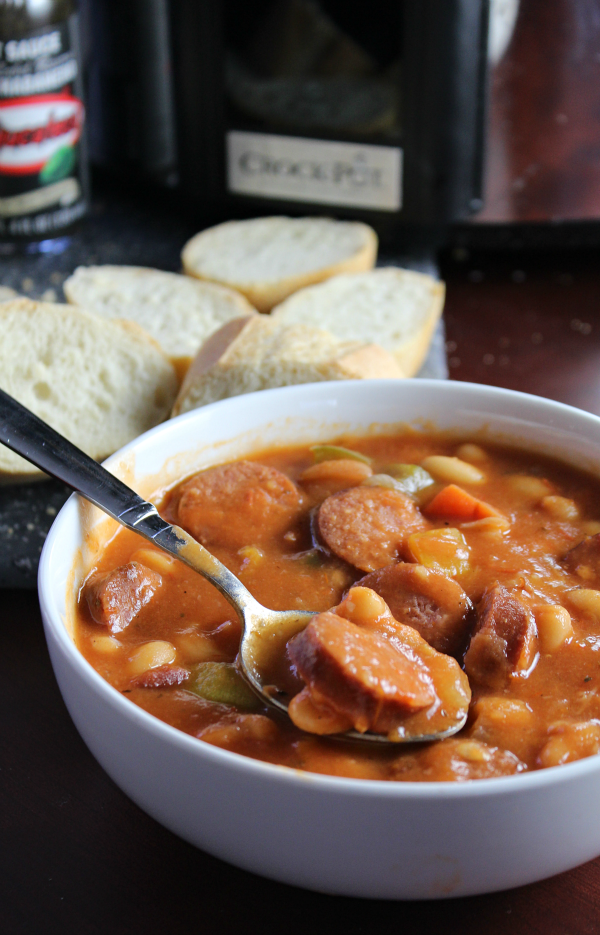 Slow Cooker Spicy Sausage and Bean Stew is perfect for Game Day!