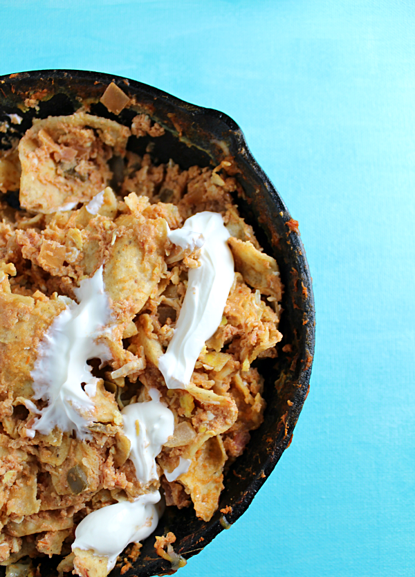Chicken Chilaquiles with Eggs is a Mexican dish perfect for breakfast, brunch, or dinner!