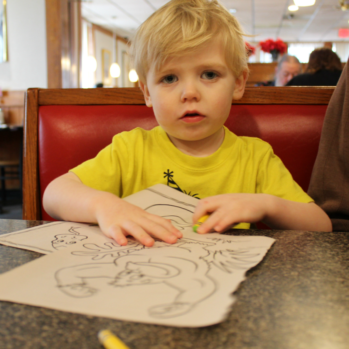 Coloring at the restaurant table