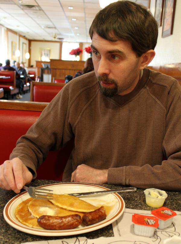 Daddy enjoying breakfast out