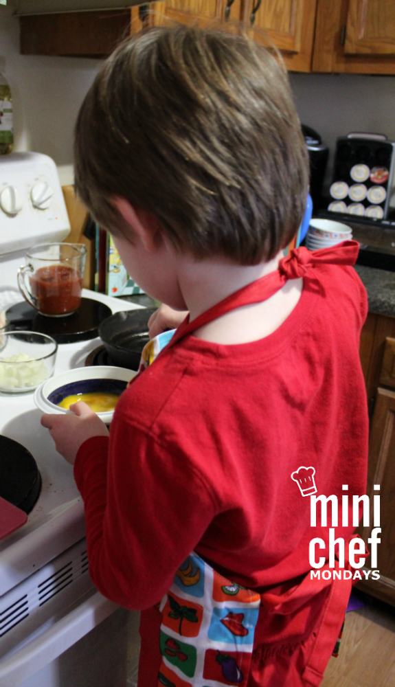 Our Mini Chef this week whipped up some yummy Chicken Chilaquiles with Eggs! Perfect for breakfast, brunch, or dinner!
