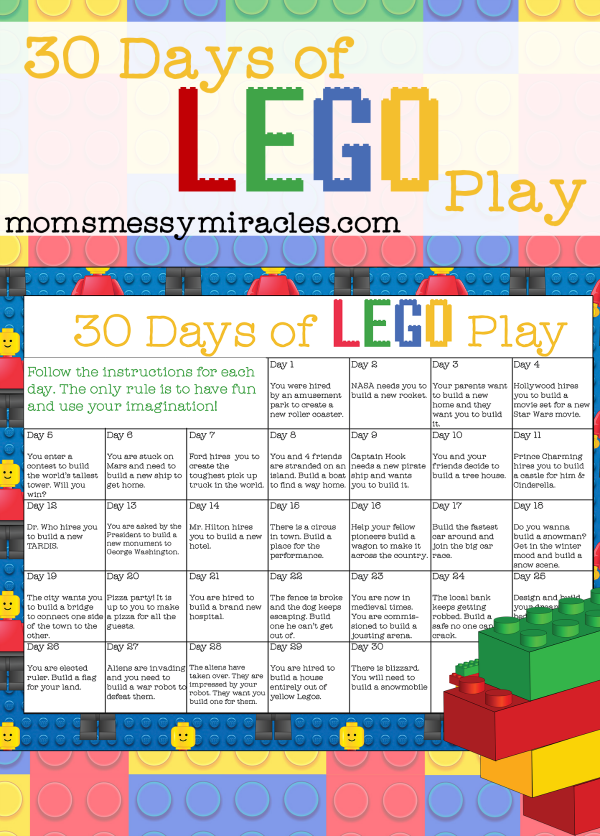 30 days of lego play is a free calendar you can print with 30 days of