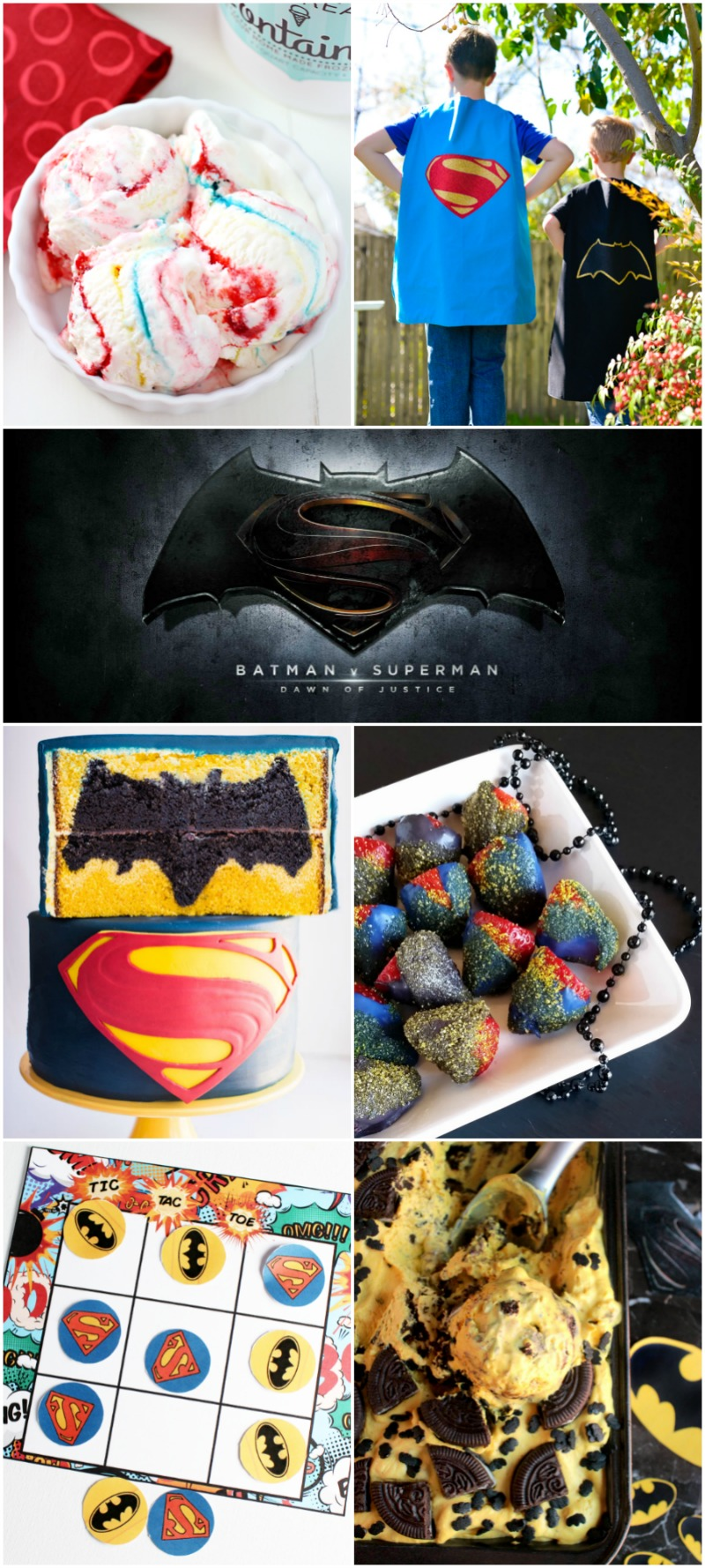 Batman vs. Superman party ideas - includes cake, candy, printable games, ice cream, and more!