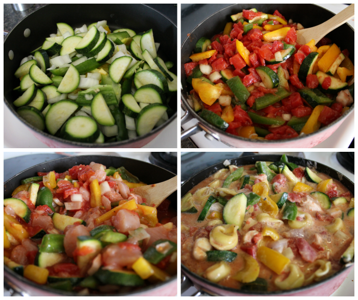Cheesy Chicken & Veggie Tortellini Skillet Process