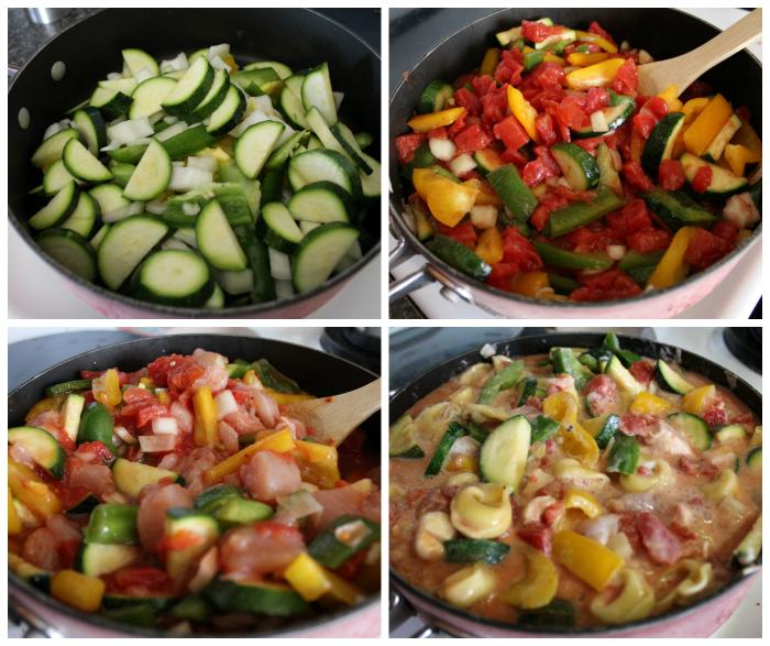 Cheesy Chicken & Veggie Tortellini Skillet Process