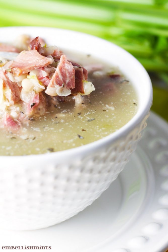 Ham and Bean Soup Recipe. Such a great way to use leftover ham! www.Embellishmints.com