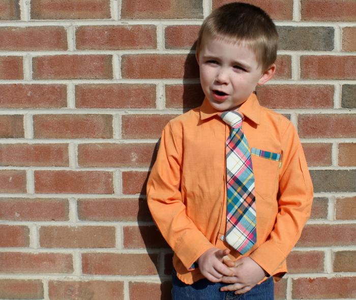 Orange dress shirt with tie
