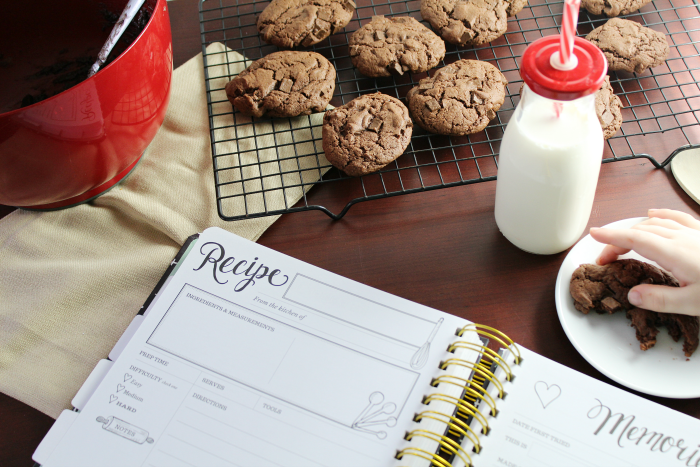 Recipe Book with Cookies and Milk