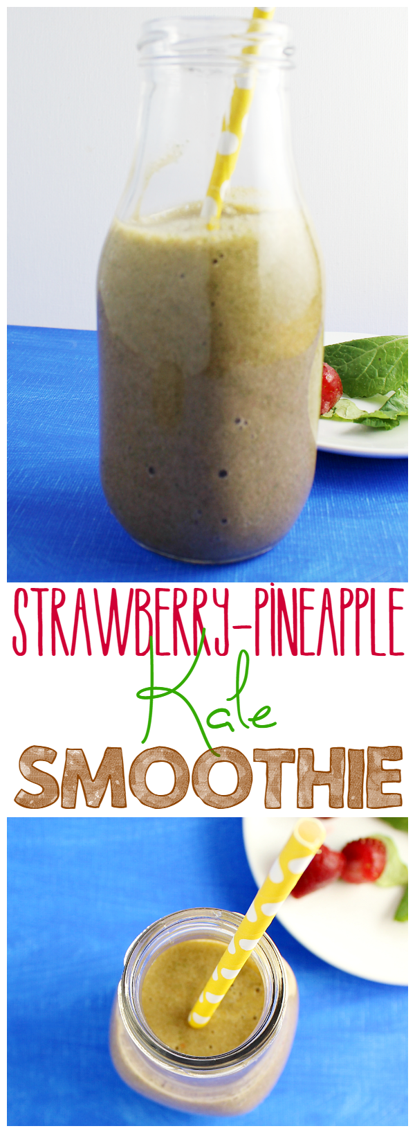 Make this yummy Strawberry-Pineapple Kale Smoothie! It's kid-approved!