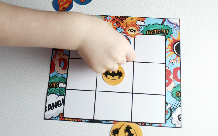 playing Superhero Tic-Tac-Toe