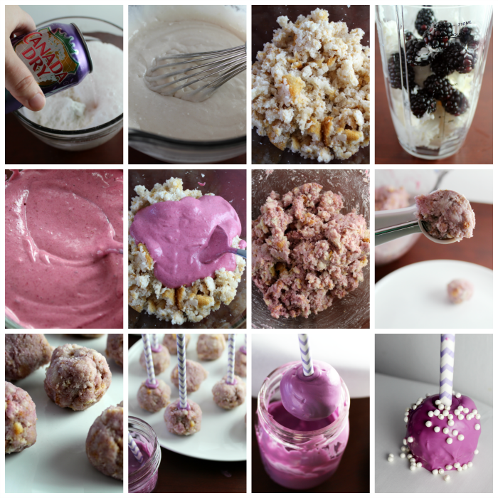 Blackberry Cake Pops Process