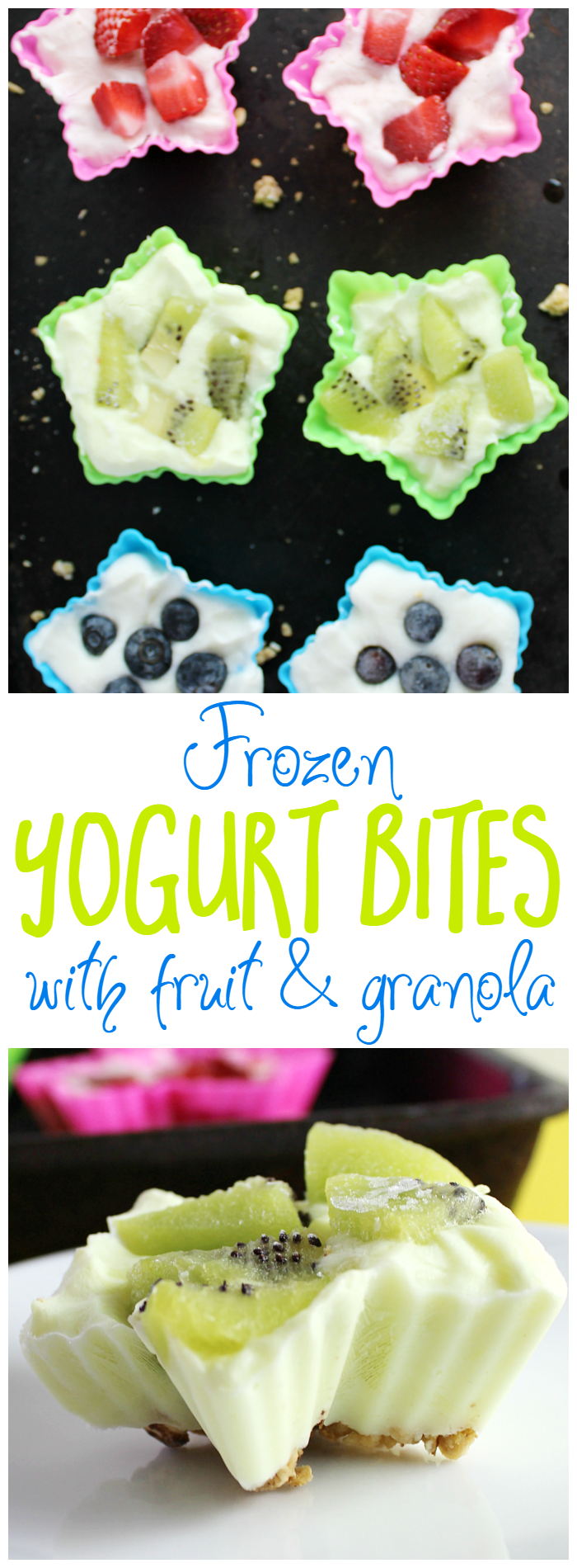 These frozen yogurt bites with fruit and granola make for a great afternoon snack! The best part is that the kids can help make them!