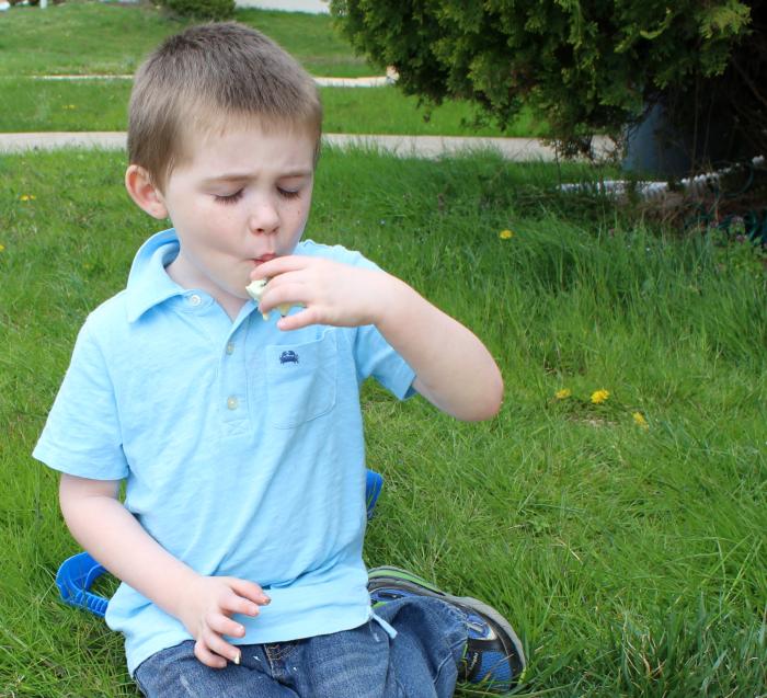 snacking boy