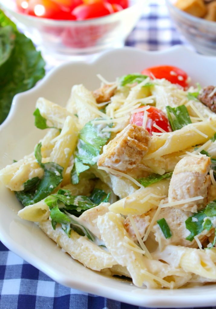 Chicken Caesar Pasta Salad makes a great dish to bring to a BBQ, potluck, or just an everyday dinner at home! So quick and delicious!