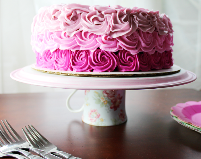 DIY Cake Stand with Pink Rose Cake