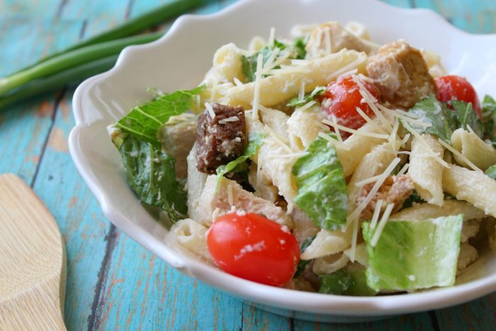 Easy Chicken Caesar Pasta Salad