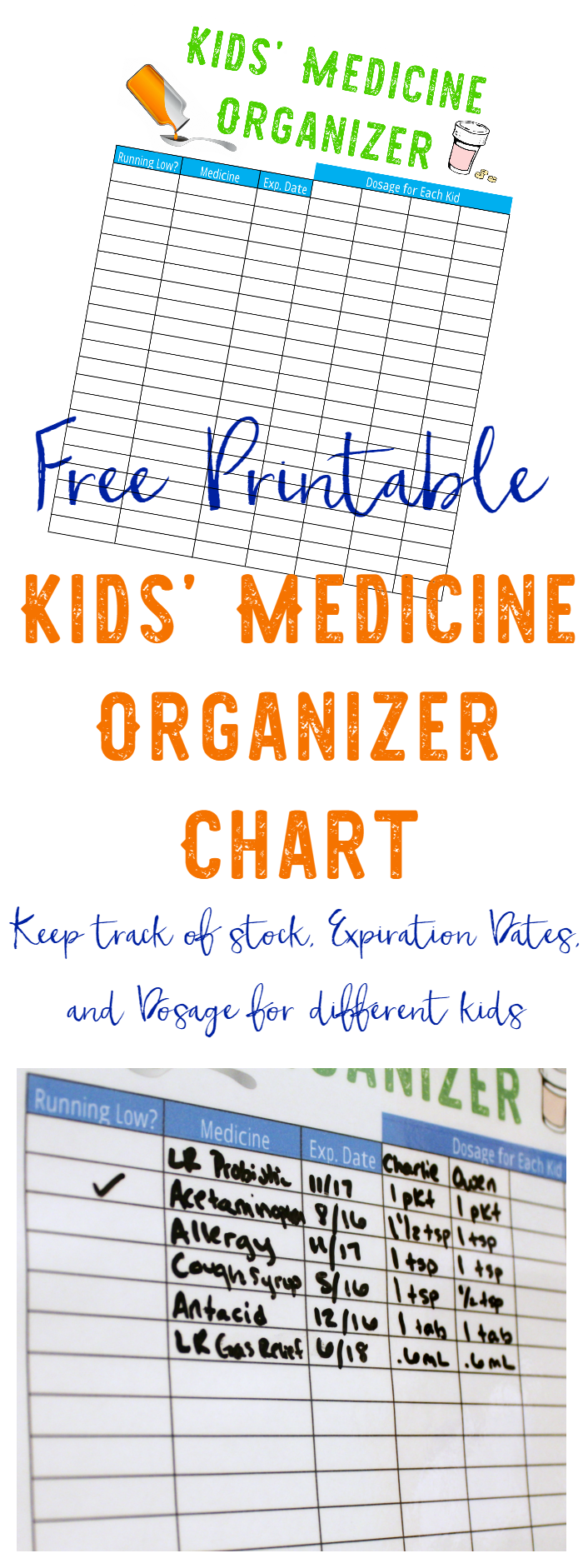 Kids' Medicine Organizer Chart Free Printable - Making our kids feel better is our job as parents! Keep track of stock, Expiration Dates, and Dosage for different kids with our free printable medicine organizer chart.