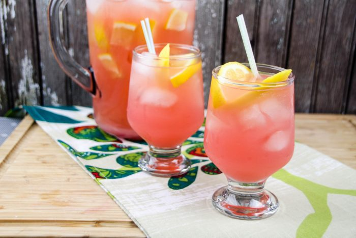 Mango Pink Lemonade with Gingerbeer glasses