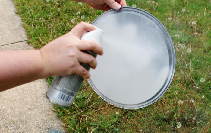 Spray Painting DIY Cake Stand
