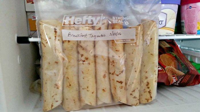 Breakfast Taquitos freezer