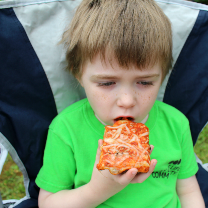 Eating Pizza while camping