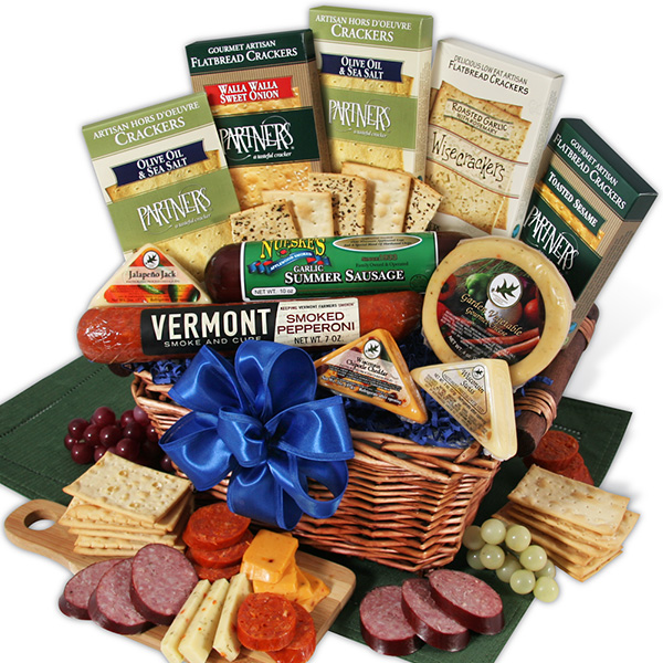 Gourmet Gift Baskets Meat & Cheese Sampler Deluxe