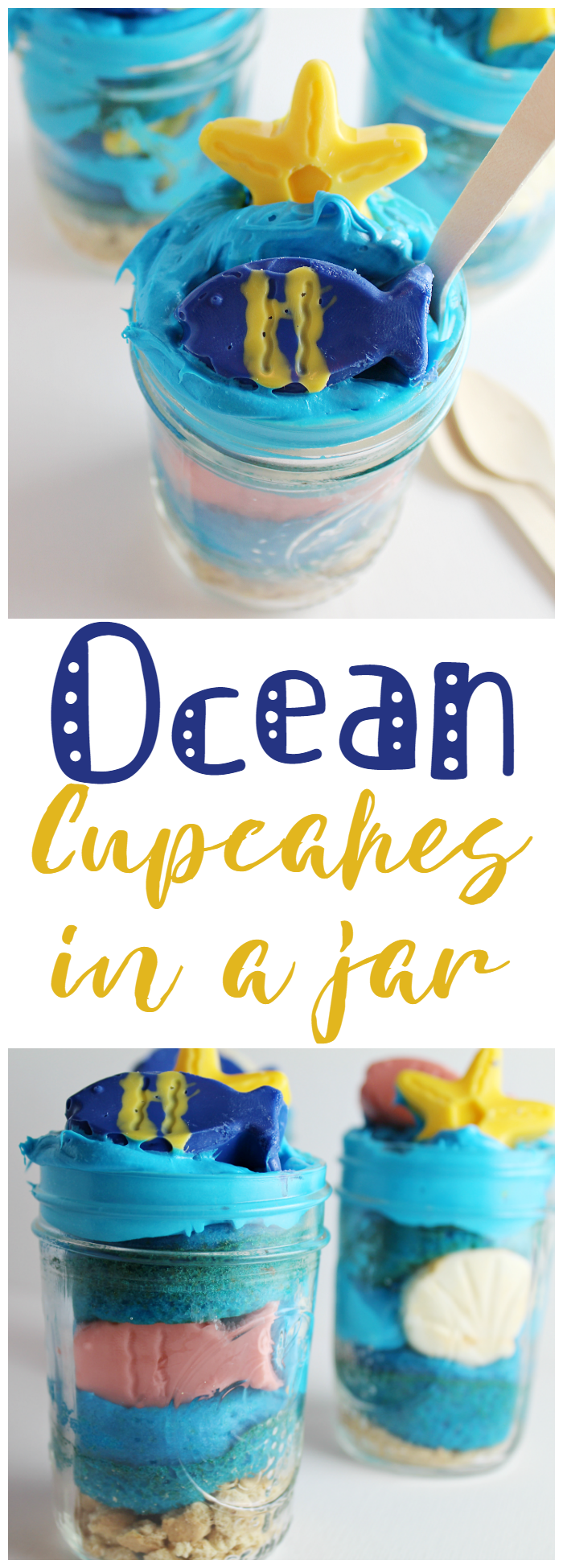 In honor of the Disney PIXAR's Finding Dory release, we put together these super simple, yet super cute, Ocean Cupcakes in a Jar.