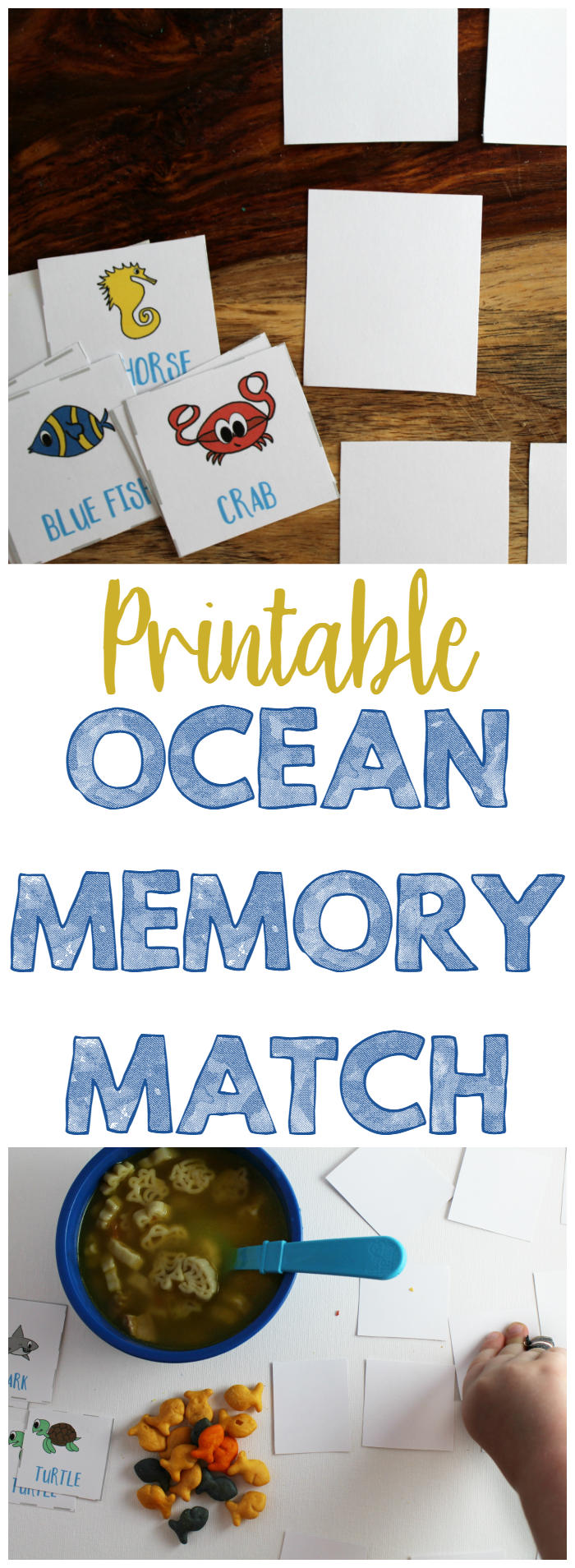 Printable Ocean Memory Match Game - Print out this fun memory match game with an ocean theme. Cards include words, too! Perfect for Finding Dory fans!