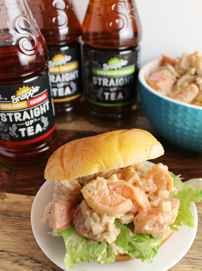 Snapple Straight Up Tea with Shrimp Salad