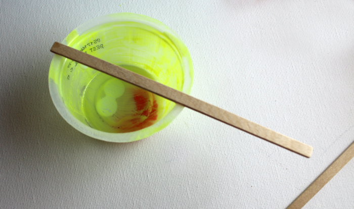 Stick on applesauce cup for puppet