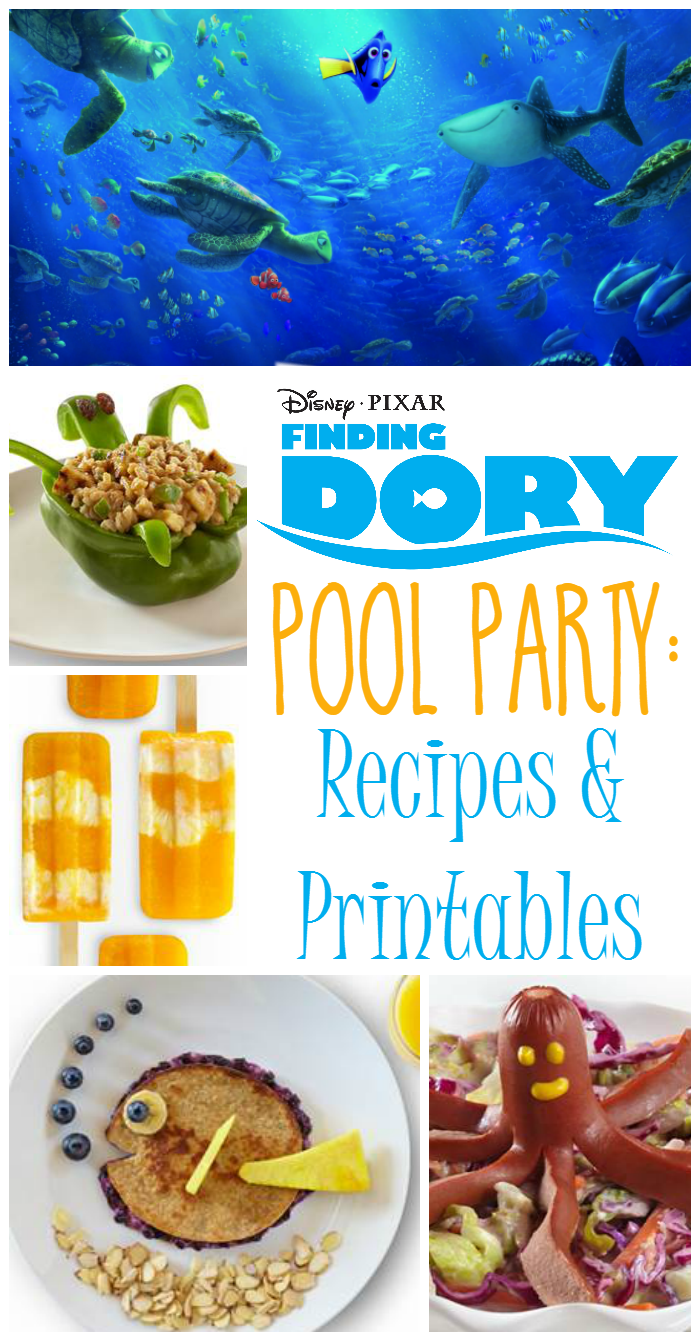 Finding Dory Pool Party Recipes & Printables -  You're going to want to check out these fun recipes and printables that are perfect for a Finding Dory themed pool party!